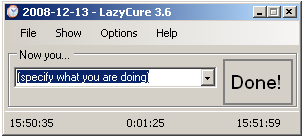 LazyCure 3.6 Main form